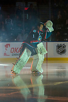 KELOWNA, CANADA - SEPTEMBER 22: James Porter #1 of the Kelowna Rockets enters the ice for home opener against the Kamloops Blazers on September 22, 2017 at Prospera Place in Kelowna, British Columbia, Canada.  (Photo by Marissa Baecker/Shoot the Breeze)  *** Local Caption ***