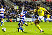 Birmingham City midfielder Jacques Maghoma (19) shoots towards the goal during the EFL Sky Bet Championship match between Reading and Birmingham City at the Madejski Stadium, Reading, England on 7 December 2019.