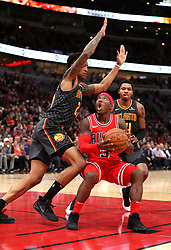 October 26, 2017 - Chicago, IL, USA - The Chicago Bulls' Kay Felder looks to score against the Atlanta Hawks in the second half at the United Center in Chicago on Thursday, Oct. 26, 2017. The Bulls won, 91-86. (Credit Image: © Chris Sweda/TNS via ZUMA Wire)