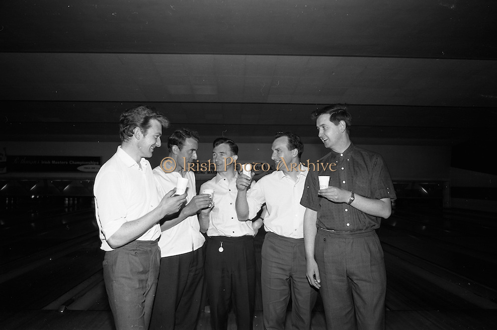 22/05/1966<br /> 05/22/1966<br /> 22 May 1966<br /> Bowling Marathon for Invite League Team at the Stillorgan Bowl, Stillorgan Dublin. Pictured before beginning their 12 hour effort to beat the European Bowling Marathon record, were these top 5 selected from the Invite Tournament. The boys who started bowling with a lass of vitamins on the stroke of 12 noon on Sunday at the the Stillorgan Bowl were (l-r): Frank Duffy; Ned Ellis; Des Murphy; Se Nolan and John Brennan. The Stillorgan Bowl was the first bowling alley in Ireland. Photos for Leo laboratories Ltd.