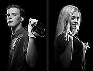 All-area golfers Jake Leffew, of Vero Beach High School, and Emily Faulkner, of Jensen Beach High School, are photographed at the Stuart News offices on Tuesday, Dec. 16, 2014. (XAVIER MASCAREÑAS/TREASURE COAST NEWSPAPERS)