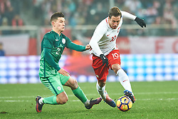 Wroclaw, Poland - 2016 November 14: (R) Grzegorz Krychowiak of Poland fights for the ball with (L) Benjamin Verbic of Slovenia during Poland v Slovenia - International Friendly Soccer Match at Municipal Stadium on November 14, 2016 in Wroclaw, Poland.<br /> <br /> Adam Nurkiewicz declares that he has no rights to the image of people at the photographs of his authorship.<br /> <br /> Picture also available in RAW (NEF) or TIFF format on special request.<br /> <br /> Any editorial, commercial or promotional use requires written permission from the author of image.<br /> <br /> Mandatory credit:<br /> Photo by © Adam Nurkiewicz / Mediasport