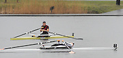 Hazewinkel. BELGUIM, Debbie FLOOD, lays flat out in the boat after finishing second in the women's A final at the  2008 GB Rowing Trials, at the Bloso Rowing Course, 09/03/2008. [Mandatory Credit, Peter Spurrier/Intersport-images] Rowing Course, Bloso, Hazewinkel. BELGUIM