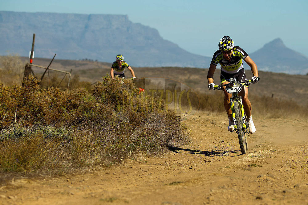 Third place team Alban Lakata and Robert Mennen during the Prologue of the 2012 Absa Cape Epic Mountain Bike stage race held at Meerendal Wine Estate in Durbanville outside Cape Town, South Africa on the 25 March 2012..Photo by Sven Martin/Cape Epic/SPORTZPICS