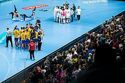 Team RK Celje Pivovarna Lasko and Paris Saint-Germain during timeout at handball match between RK Celje Pivovarna Lasko (SLO) and Paris Saint-Germain HB (FRA) in 11th Round of EHF Champions League 2019/20, on 9 February, 2020 in Arena Zlatorog, Celje, Slovenia. Photo Grega Valancic / Sportida