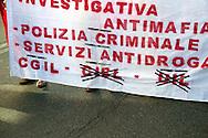 Roma 6 Settembre 2011.Manifestazione del sindacato CGIL contro la manovra del governo Berlusconi. I lavoratori del ministero dell'Interno,sullo striscione cancellate le altre due sigle sindacali