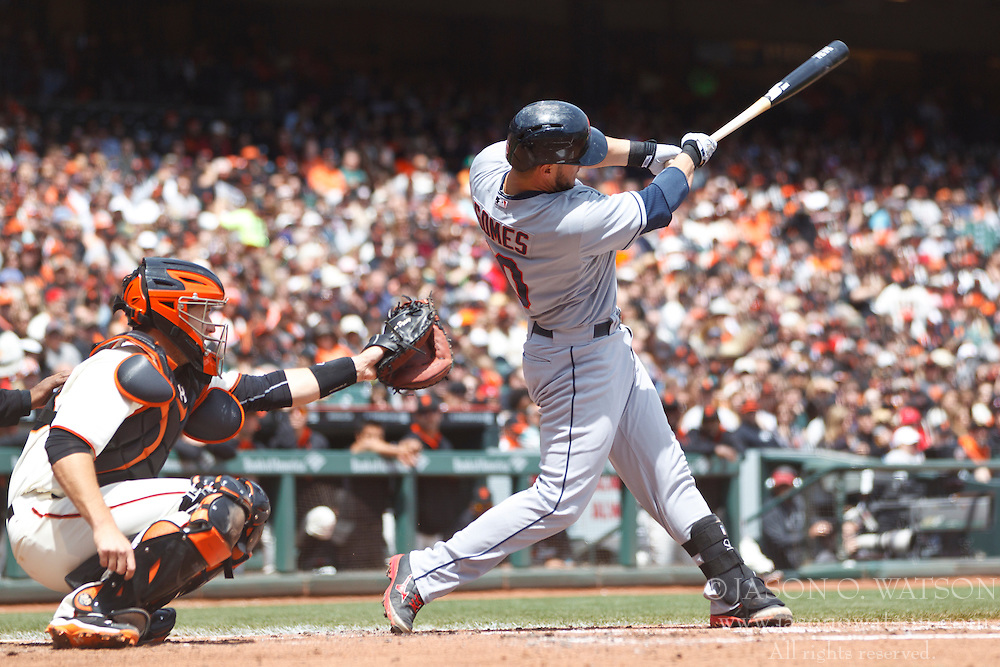 SAN FRANCISCO, CA - APRIL 26:  Yan Gomes #10 of the Cleveland Indians at bat against the San Francisco Giants during the second inning at AT&T Park on April 26, 2014 in San Francisco, California. The San Francisco Giants defeated the Cleveland Indians 5-3.  (Photo by Jason O. Watson/Getty Images) *** Local Caption *** Yan Gomes