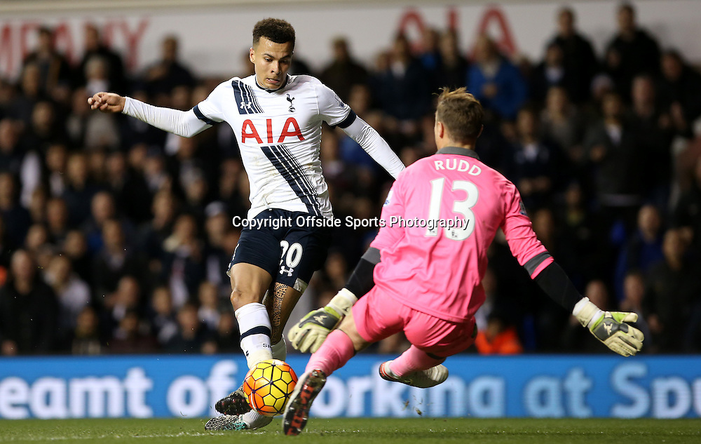 26 December 2015 - Premier League - Tottenham Hotspur v Norwich City<br /> Dele Alli of Spurs has a shot at goal but it is deflected by Norwich goalkeeper Declan Rudd<br /> Photo: Charlotte Wilson / Offside