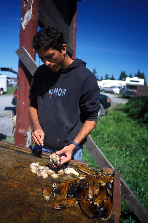 Ninilchik, Alaska. Luiz Garcia cleans razor clams. MR