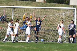 West Virginia Mountaineers foward Deana Everrett (15) celebrates after a WVU goal.  The #16 ranked Virginia Cavaliers defeated the #12 ranked West Virginia Mountaineers 3-2 in the second round of NCAA Division 1 Women's Soccer Tournament at Klockner Stadium on the Grounds of the University of Virginia in Charlottesville, VA on November 16, 2008.