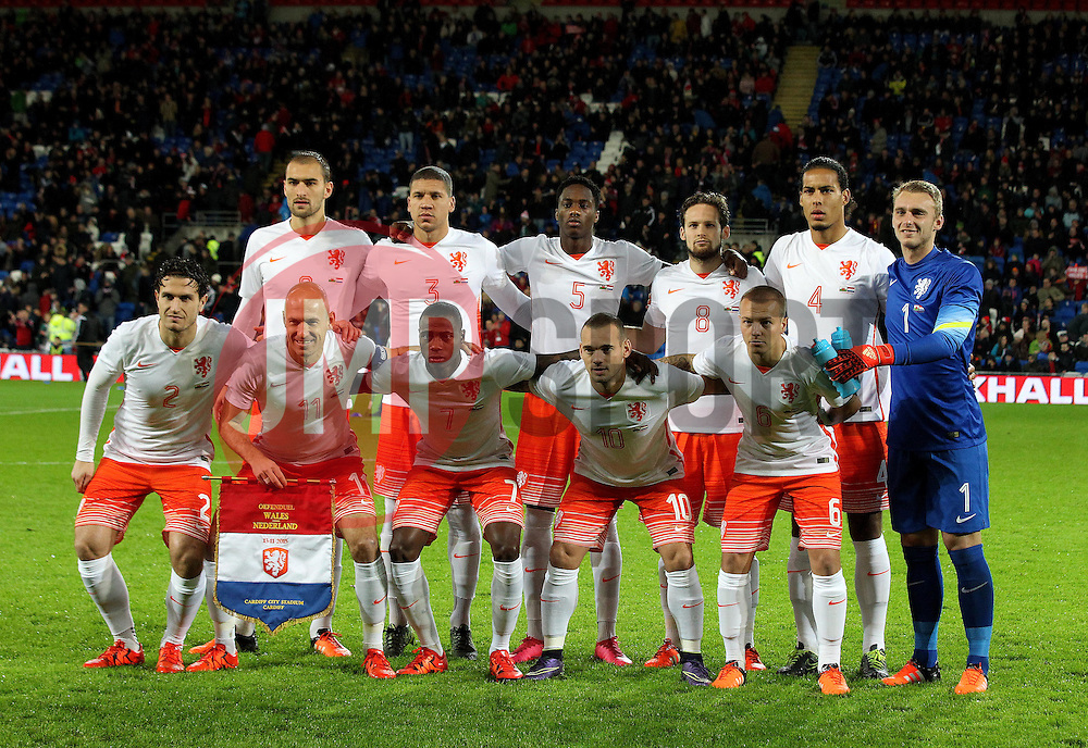 The Netherlands team picture - Mandatory byline: Robbie Stephenson/JMP - 07966 386802 - 13/11/2015 - FOOTBALL - Cardiff City Stadium - Cardiff, Wales - Wales v Netherlands - International Friendly