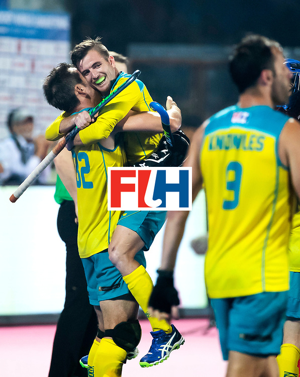 BHUBANESWAR - Vreugde bij Jake Whetton (Aus) en Jeremy Hayward (Aus) .   Hockey World League finals , Final Australia-Argentina (2-1) . Australia wint de finale. COPYRIGHT KOEN SUYK
