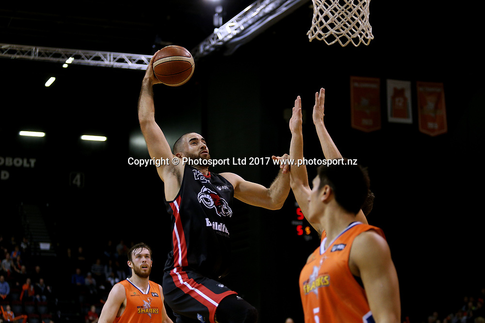 Ethan Rusbatch of the Rams drives in with a lay up during the NBL basketball match, Southland Sharks v Canterbury Rams, ILT Stadium Southland, Invercargill, New Zealand, Friday, May 05, 2017. © Copyright photo: Dianne Manson / www.photosport.nz