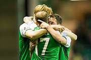 Hibernian midfielder Danny Swanson (#11) celebrates Hibernian's second goal (2-2) with Hibernian midfielder Vykintas Slivka (#8) and Hibernian forward Martin Boyle (#17) during the Betfred Scottish Cup match between Hibernian and Livingston at Easter Road, Edinburgh, Scotland on 19 September 2017. Photo by Craig Doyle.