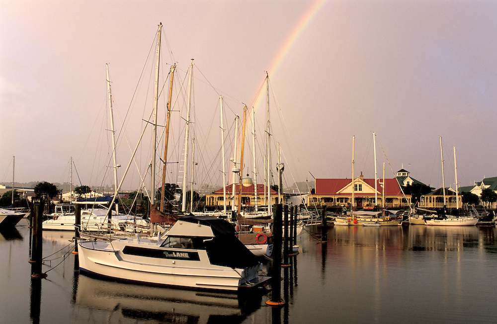 Rainbow over Town Basin, Whangarei, Northland, North Island, New Zealand