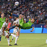 Jul 29, 2017; Carson, CA, USA; Seattle Sounders forward Clint Dempsey (2) attempts a bicycle kick during the first half against the Los Angeles Galaxy at StubHub Center. Mandatory Credit: Orlando Ramirez-USA TODAY Sports