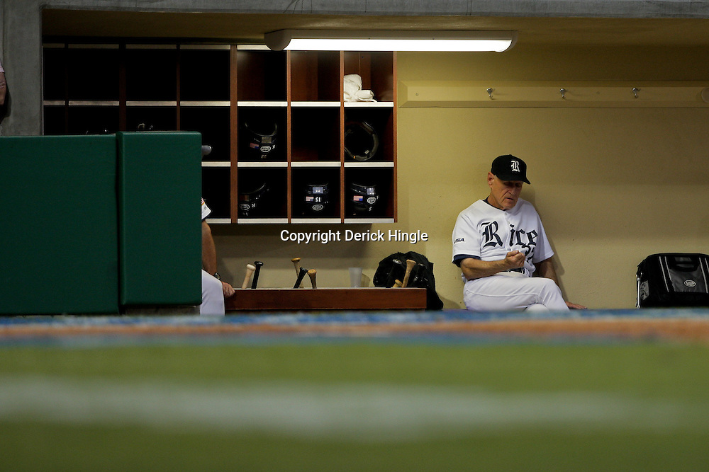 05 June 2009:  Rice head coach Wayne Graham sits in the dug out during a 12-9 victory by the LSU Tigers over the Rice Owls in game one of the NCAA baseball College World Series, Super Regional played at Alex Box Stadium in Baton Rouge, Louisiana.