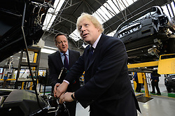 Image ©Licensed to i-Images Picture Agency. 26/03/2015. Coventry, United Kingdom. The Prime Minister David Cameron and the London Mayor Boris Johnson visit the London Taxis Company. Picture by Andrew Parsons / i-Images