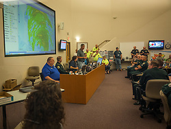 September 10, 2017 - Florida, U.S. - LOREN ELLIOTT   |   Times .Local authorities meet for a morning briefing to discuss Hurricane Irma in the command room at the Charlotte County emergency operations center in Punta Gorda, Fla., on Sunday, Sept. 10, 2017. (Credit Image: © Loren Elliott/Tampa Bay Times via ZUMA Wire)