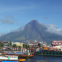 Legazpi waterfront with Mayon Volcano in the background.