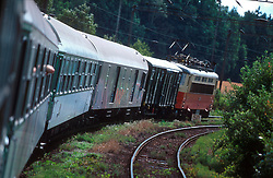 CZECH REPUBLIC SOUTHERN BOHEMIA JINDRICHUV HRADEC JUL00 - A regional train heads towards Jindrichuv Hradec.. . jre/Photo by Jiri Rezac. . © Jiri Rezac 2000. . Tel:   +44 (0) 7050 110 417. Email: jiri@jirirezac.com. Web:   www.jirirezac.com
