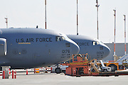 Israel, Ben-Gurion international Airport US Air Force Boeing (formerly McDonnell Douglas) C-17 Globemaster III  a large military transport aircraft.