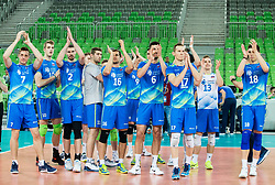 Matej Kok of Slovenia, Saso Stalekar of Slovenia, Alen Pajenk of Slovenia, Danijel Koncilija of Slovenia, Gregor Ropret of Slovenia, Mitja Gasparini of Slovenia, Tine Urnaut of Slovenia, Jani Kovacic of Slovenia and Klemen Cebulj of Slovenia celebrate after winning during volleyball match between National teams of Slovenia and Portugal in 2nd Round of 2018 FIVB Volleyball Men's World Championship qualification, on May 26, 2017 in Arena Stozice, Ljubljana, Slovenia. Photo by Vid Ponikvar / Sportida