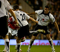 Photo: Daniel Hambury.<br />Fulham v Charlton Athletic. The Barclays Premiership. 16/10/2006.<br />Fulham's Brian McBride scores 1-0.