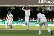 Jofra Archer of England reacts after bowling a delivery during the International Test Match 2019 match between England and Australia at Lord's Cricket Ground, St John's Wood, United Kingdom on 18 August 2019.