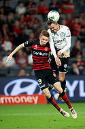 SYDNEY, AUSTRALIA - NOVEMBER 22: Melbourne City forward Craig Noone (11) heads the ball over Western Sydney Wanderers defender Daniel Wilmering (29) during the round 7 A-League soccer match between Western Sydney Wanderers FC and Melbourne City FC on November 22, 2019 at Bankwest Stadium in Sydney, Australia. (Photo by Speed Media/Icon Sportswire)
