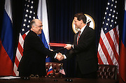 US Vice President Al Gore exchanges agreements with Russian Prime Minister Viktor Chernomyrdin February 7, 1997 In Washington, DC.