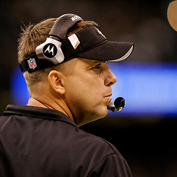 2009 November 30:  New Orleans Saints head coach Sean Payton watches his team during a 38-17 win by the New Orleans Saints over the New England Patriots at the Louisiana Superdome in New Orleans, Louisiana.