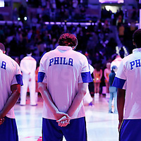 22 March 2015: Philadelphia 76ers players stand during the national anthem prior to the Los Angeles Lakers 101-87 victory over the Washington Wizards, at the Staples Center, Los Angeles, California, USA.
