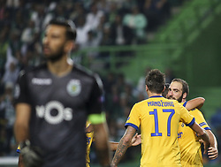 October 31, 2017 - Lisbon, Portugal - Juventus's forward Gonzalo Higuain (R) celebrates with team mates after scoring a goal during the Champions League  football match between Sporting CP and Juventus FC at Jose Alvalade  Stadium in Lisbon on October 31, 2017. (Credit Image: © Carlos Costa/NurPhoto via ZUMA Press)