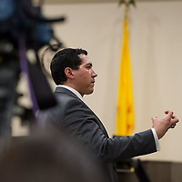 An emotional Assistant DA Brandon Vigil, gives his opening statement to members of the jury on Day 1 of the Green Case at the 13th Judicial District Courthouse in Grants Tuesday afternoon.