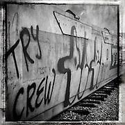 Rail car sprayed with graffiti in Fullerton, CA.