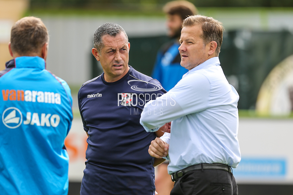Forest Green Rovers manager, Mark Cooper and Neil Smith Manager of Bromley talk before the match during the Vanarama National League match between Forest Green Rovers and Bromley FC at the New Lawn, Forest Green, United Kingdom on 17 September 2016. Photo by Shane Healey.