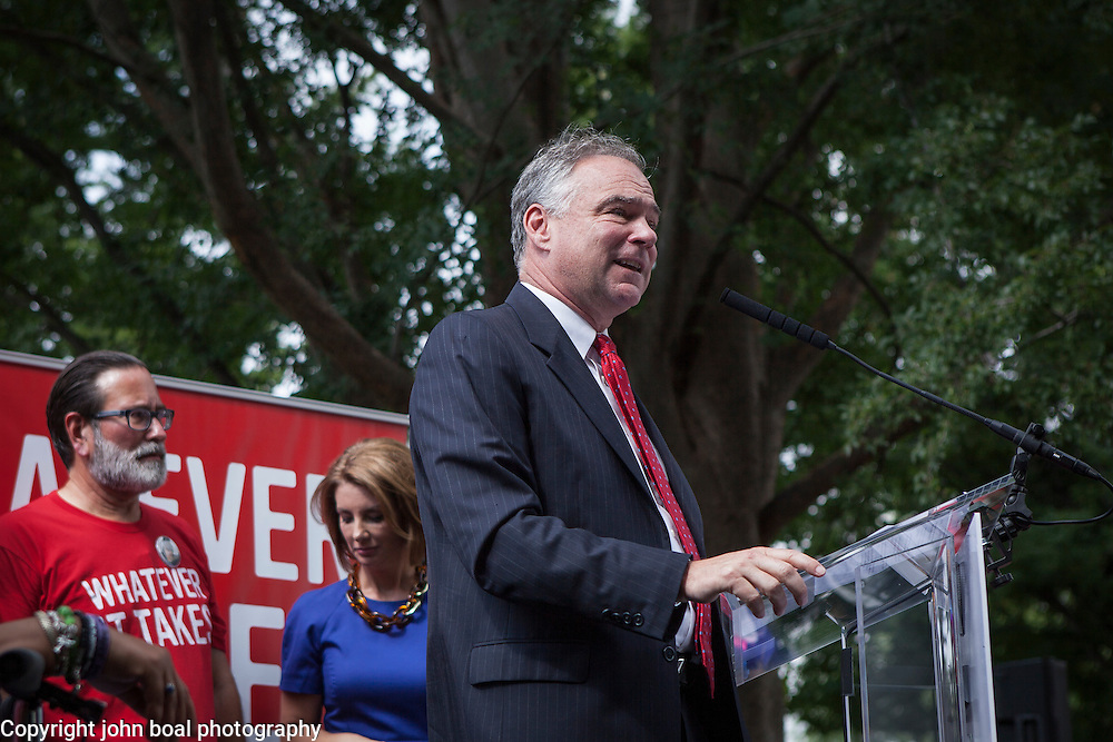 Virginia Senator Tim Kaine spoke during a rally organized by Everytown for Gun Safety near the United States Capitol, on Thursday, September 10, 2015. Andy Parker, made his first visit to Washington, D.C. since his daughter, WDBJ_TV reporter was shot and killed on live television near Roanoke, VA a week prior. John Boal Photography