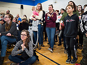 19 JANUARY 2020 - DES MOINES, IOWA: People listen to Elizabeth Warren at a campaign event in Des Moines Sunday. With just two weeks to go before the Iowa Caucuses, Sen. Warren is campaigning in the Des Moines area this weekend to support her effort to be the Democratic nominee for the US presidential race in 2020. Iowa traditionally hosts the first presidential selection event of the campaign season. The Iowa caucuses are Feb. 3, 2020.         PHOTO BY JACK KURTZ