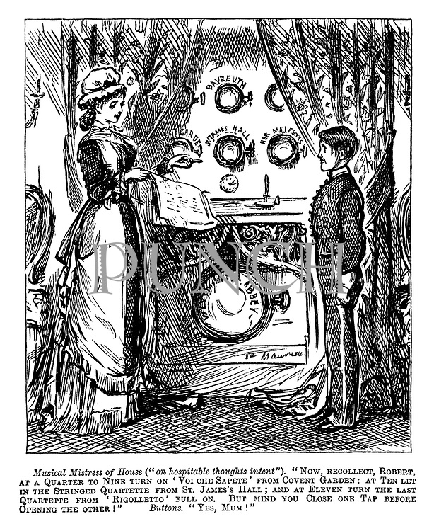 (Musical invention - Mistress of House gives instructions to the bellboy to turn on taps at certain hours to listen to live concerts from different locations)