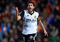 VALENCIA, SPAIN - FEBRUARY 11:  Daniel Parejo of Valencia celebrates after scoring his sides third goal during the La Liga match between Valencia and Levante at Mestalla Stadium on February 11, 2018 in Valencia, Spain.  (Photo by Manuel Queimadelos Alonso/Getty Images)