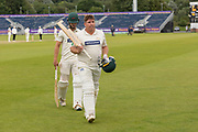Mark Cosgrove leaves the field unbeaten during the Specsavers County Champ Div 2 match between Durham County Cricket Club and Leicestershire County Cricket Club at the Emirates Durham ICG Ground, Chester-le-Street, United Kingdom on 21 August 2019.