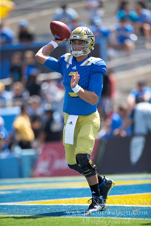 PASADENA, CA - SEPTEMBER 05:  Quarterback Josh Rosen #3 of the UCLA Bruins warms up before the game against the Virginia Cavaliers at the Rose Bowl on September 5, 2015 in Pasadena, California.  The UCLA Bruins defeated the Virginia Cavaliers 34-16. (Photo by Jason O. Watson/Getty Images) *** Local Caption *** Josh Rosen