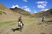 GOBI DESERT, MONGOLIA..08/23/2001.Gobi Gurvansaikhan National Park..Mongolian riders at Yolyn Am..(Photo by Heimo Aga)