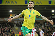 Norwich City midfielder Robbie Brady celebrates the third Norwich goal during the EFL Sky Bet Championship match between Norwich City and Brentford at Carrow Road, Norwich, England on 3 December 2016. Photo by Nigel Cole.