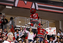 Oct 3, 2009; Newark, NJ, USA; Fans celebrate the 1000th NHL game of New Jersey Devils goalie Martin Brodeur (30) during the first period at the Prudential Center.