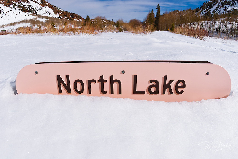 North Lake sign in winter, Inyo National Forest, Sierra Nevada Mountains, California