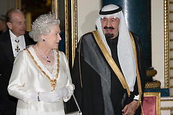 HM Queen Elizabeth II hosts a State Banquet at Buckingham Palace in London to honour the State Visit by King Abdullah of Saudi Arabia. 30-10-07.Pool Photo from Ian Jones