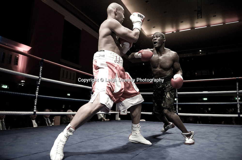 J J Ojvejerie v Hastings Rasani at Watford Colusseum 29 November 2009 Promoter Mickey Helliet, Hellraiser Promotions: Credit: ©Leigh Dawney Photography