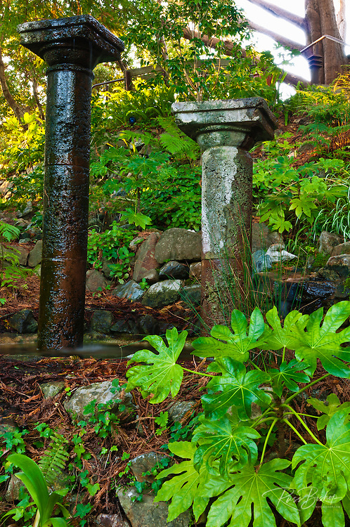 Columns on the garden path at Nepenthe, Big Sur, California
